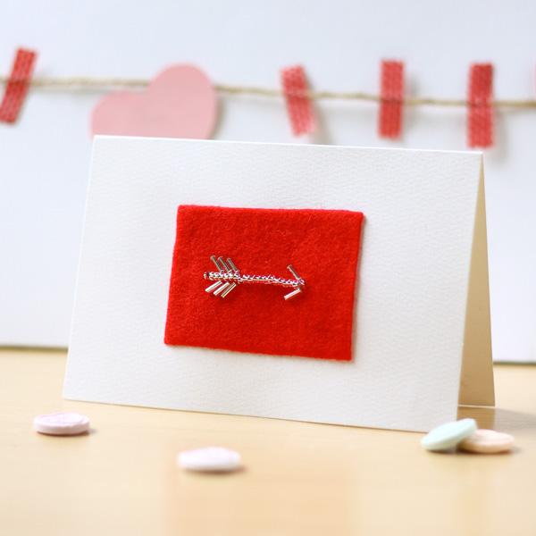 Bead Embroidery Arrow DIY Valentines Card