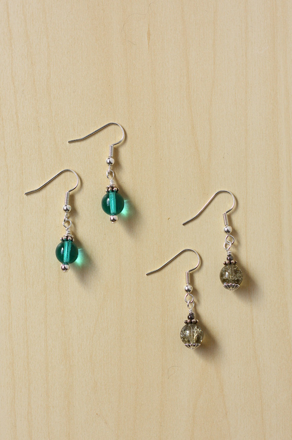 Earrings with bead caps and spacers