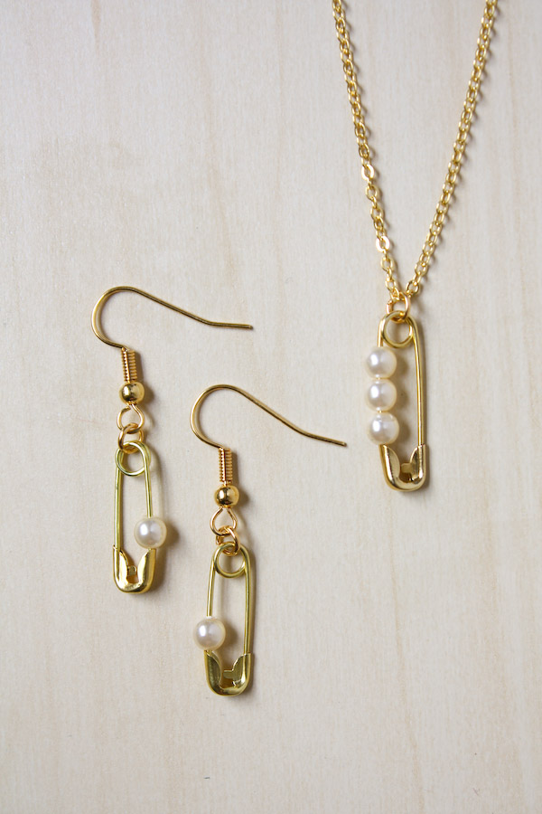 Safety Pin and Pearl Jewellery