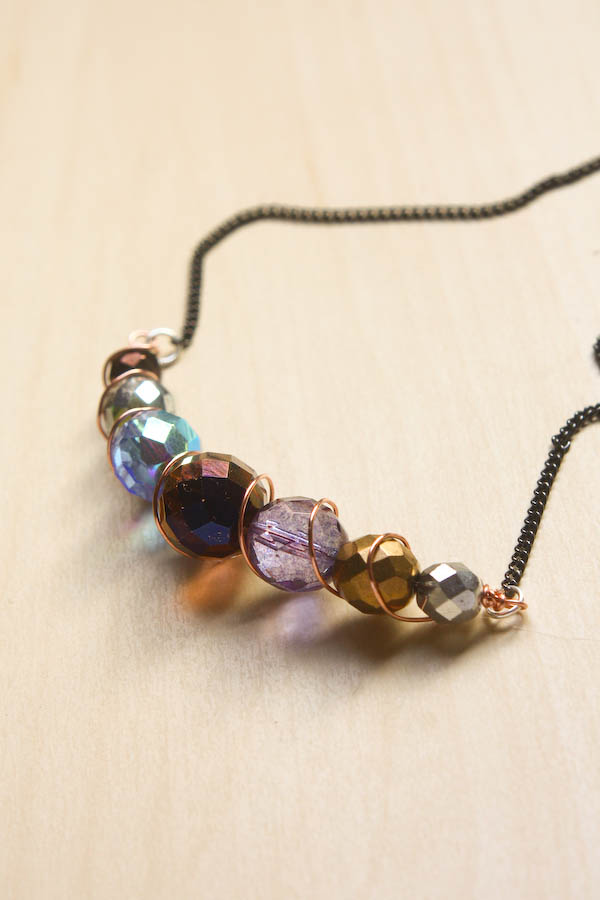 diy wire and bead necklace tutorial